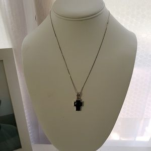 Jewelry - Sterling Silver Black Cross Necklace 18""